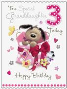 Large Granddaughter 3rd Birthday Fudge & Friends Card